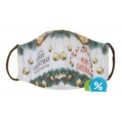 Detské textilné rúško s vianočným motívom - zeleno-biele