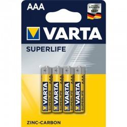 Zinkouhlíkové batérie Superlife R03 - 4x AAA - blister - Varta