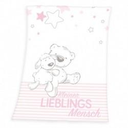 Detská flísová deka - Ovečka a medvedík - ružová - 100 x 75 cm - Herding