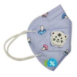 Detský respirátor s dýchacím ventilom KN95 - 1 ks - fialový - OEM