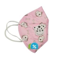 Detský respirátor s dýchacím ventilom KN95 - 1 ks - ružový - OEM