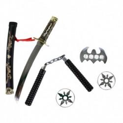 Japonský meč katana s príslušenstvom - 5 kusov - Rappa