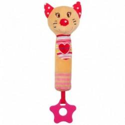Detská pískacia plyšová hračka s hryzadlom - mačka - Baby Mix