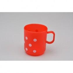 Plastový hrnček - 2,5 dl - červený s bodkami - TVAR