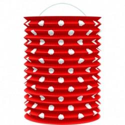 Papierový lampión - červený s bodkami - 23 cm - Rappa