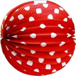 Papierový guľatý lampión - červený s bodkami - 25 cm - Rappa