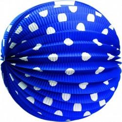 Papierový guľatý lampión - modrý s bodkami - 25 cm - Rappa