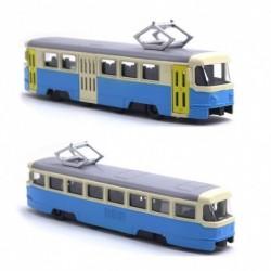 Kovová električka Tatra T3 - 18,5 cm - modro-krémová so zvukom a svetlom