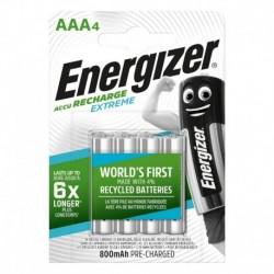 Nabíjacie mikrotužkové batérie EXTREME - 4x AAA - 800 mAh - Energizer