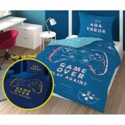 Bavlnené obliečky - Game Over - modrá - svietiaca - 140 x 200 cm - Detexpol
