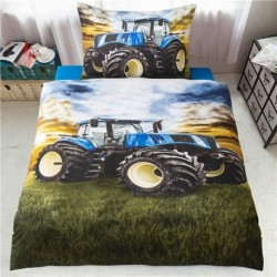 3D obliečky - Traktor - modrý - 140 x 200 cm