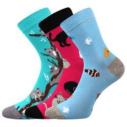 Ponožky 057-21-43 10/X - mix C - dievča - 3 páry - Boma