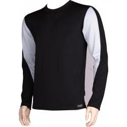 Pánské tričko SOLID 01 - dlhý rukáv - čierna/šedá - VoXX