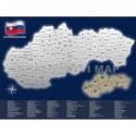 Stieracia mapa Slovenska - strieborno-modrá - darčekový tubus
