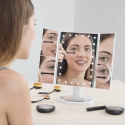 Zrkadlo trojpanelové s LED Dot osvetlením - biele