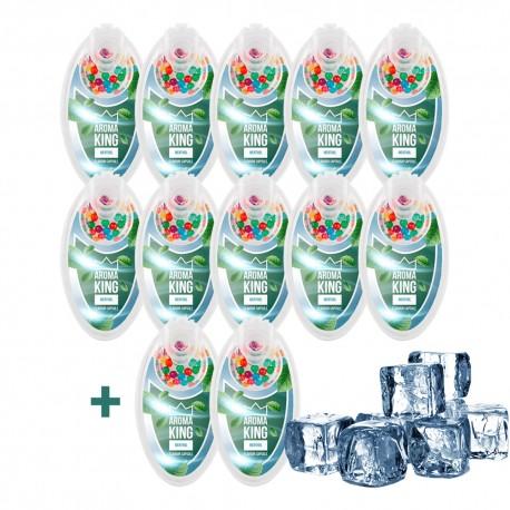 Mentolová súprava praskacích guliek Aroma King - 10 + 2 balenia ZADARMO - 1200 ks